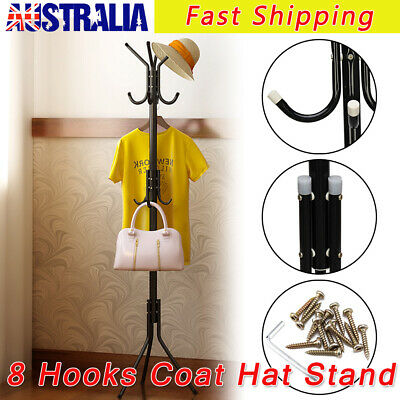 8 Hook Freestanding Hat and Coat Stand Hanging Room Clothes Steel Black AU