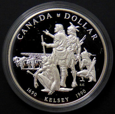 Canada 1990 Henry Kelsey Tricentennial Silver Dollar Proof  #185096