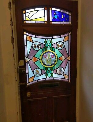 Huge XL Reclaimed Leaded Stained Glass Front Door Vibrant Colours butterfly tall