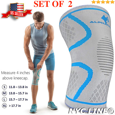 Set of 2 - Knee Compression Sleeve Support Brace for Joint Pain Relief Arthritis