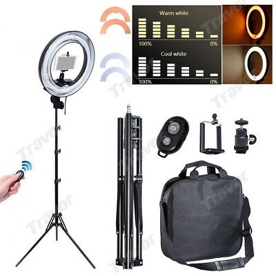 "14"" Dimmable Studio Photo Video Ring Light + Camera iPhone Holder + Light Stand"