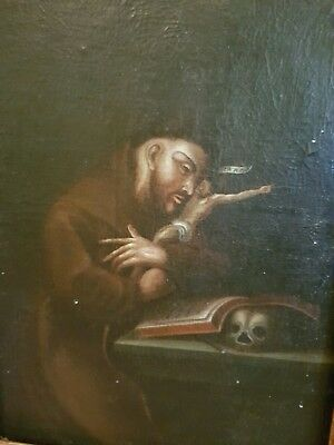 Antique Oil Painting monk skull St Jerome master gothic 18th century 1700s