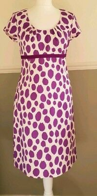 8c3eb7c928b5 Boden Dress Shift Spotted Purple White Fitted Midi Cotton UK 12 Wedding  Holiday
