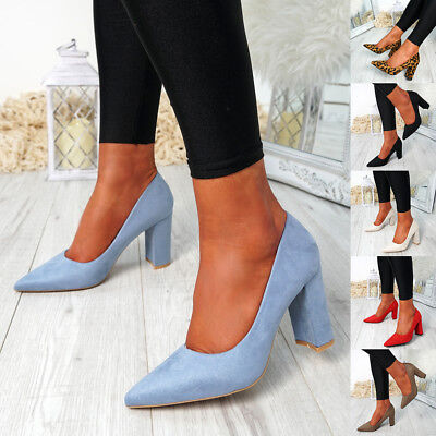 Womens Ladies Slip On Court Pumps High Block Heel Work Party Comfy Shoes