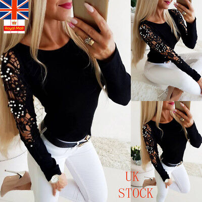 UK Womens Hollow Pearl T Shirt Ladies Long Sleeve Casual OL Workwear Blouse Tops