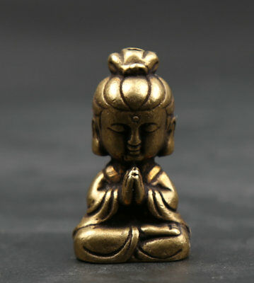 36MM Collect Small Curio Chinese Buddhism Bronze Kwan-yin Guan Yin Wealth Statue