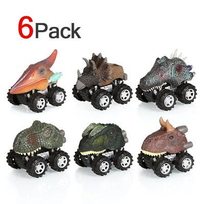 4/6X Dinosaur Cars Pull Back Vehicle Set Mini Animal Car Boys Toys Birthday Gift