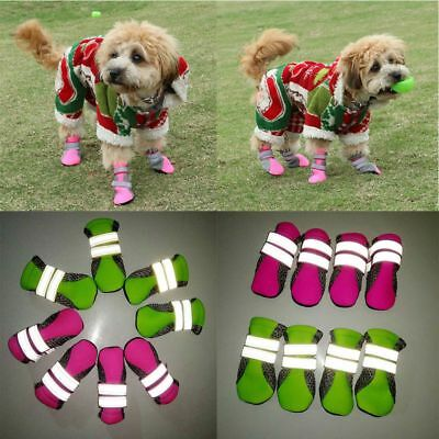 4pcs Dog Boots Feet Cover Waterproof Paw Protectors Anti-Slip Sole Shoes Strap