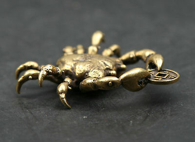 49MM Small Curio Chinese Bronze Lovable Animal Crab Money Coin Wealth Pendant