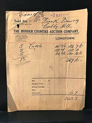 1924 The Border Counties Auction Company - Longtown Receipt for Cattle - ref195