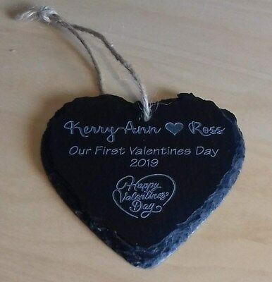 Personalised Love Token Slate Heart, Engraved Valentines Valentine Gift