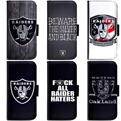 PIN-1 Oakland Raiders Phone Wallet Flip Case Cover for All Models