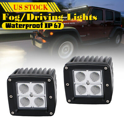 20W CREE SPOT LED Cube Pods Work Light Flush Mount Offroad Truck Square x2 (B)