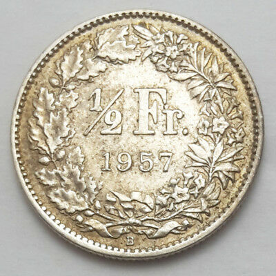 Switzerland 1/2 Francs Silver Coin 1957