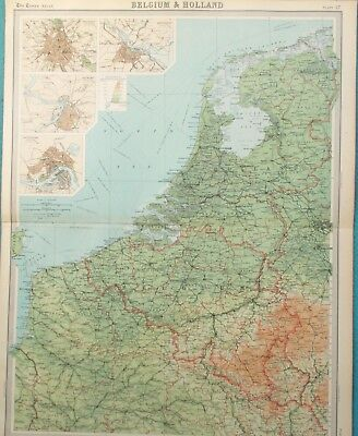 Map of the Holland & Belgium. 1922. EUROPE.BRUSSELS. AMSTERDAM