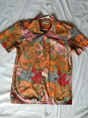 0a9dc258cc Large Mens Vans Joel Tudor Hawaiian Floral Reverse Print Button Casual Shirt  Top