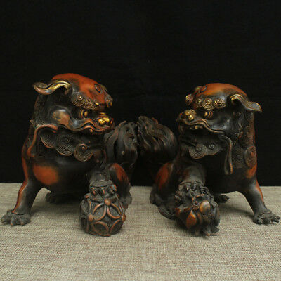 "10"" A pair China old bronze copper gilt foo dog lion beast statue"