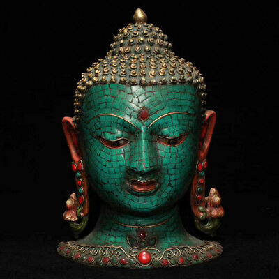 "11"" China old copper inlay Turquoise Buddhism Shakya Muni Mask Buddha statue"