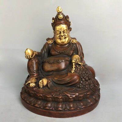 "7"" China old antique Tibet copper gilt Buddhism Yellow Jambhala Buddha statue"