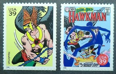 4084j & 4084t MNH 2006 39c Hawkman DC Comics books magazines TV movies superhero