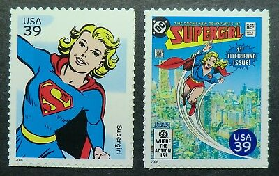 4084i & 4084s MNH 2006 39c Supergirl DC Comics comic books magazines TV movies