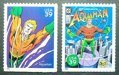 4084h & 4084r MNH 2006 39c Aquaman DC Comics comic books magazines TV movie film
