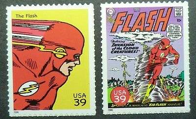 4084f & 4084p MNH 2006 39c Flash DC Comics superheroes books magazines TV movies