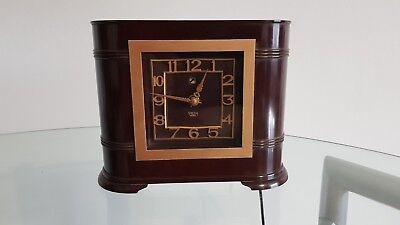 Art Deco Smiths Bakelite Electric Mantel Clock 1930s Working