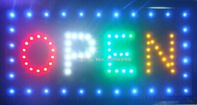 FLASHING LED OPEN SIGN 48CM X25CM /with on and off Light Display Window UK