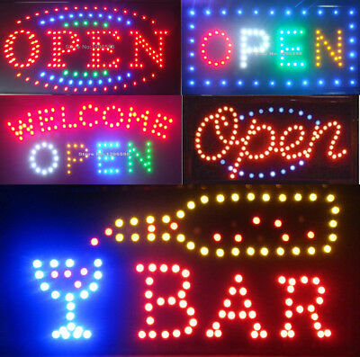 FLASHING LED OPEN SIGN BOARD 48CM X25CM HANGING NEON Light Display Window UK