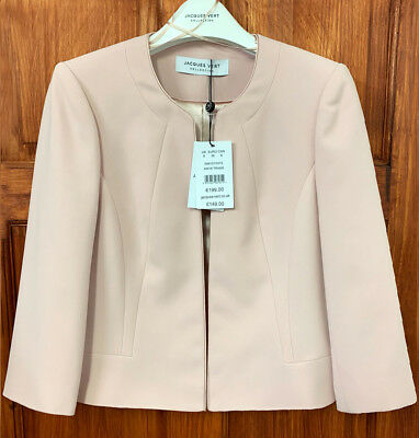 Jacques Vert NEW Crepe Jacket Blazer Cover Up in Blush Light Pink Sizes 8 to 24