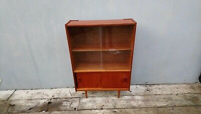 Very rare early example G Plan bookcase with original glass