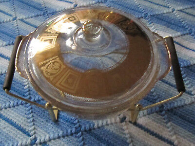 Vtg. MCM Culver Coronet Fire King 2 QT. glass covered chafing dish 1950's gold