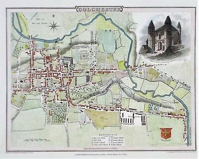 OLD ANTIQUE MAP COLCHESTER ESSEX TOWN PLAN c1805  ENGRAVING by ROPER / COLE
