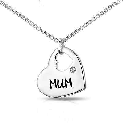 Mum Heart Necklace Created with Swarovski® Crystals by Philip Jones