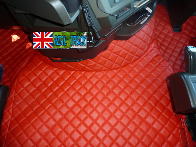 Truck Eco Leather Floor Mats Set Fit Volvo Fh 4 2013+ [Twin Air Seats ]- Red