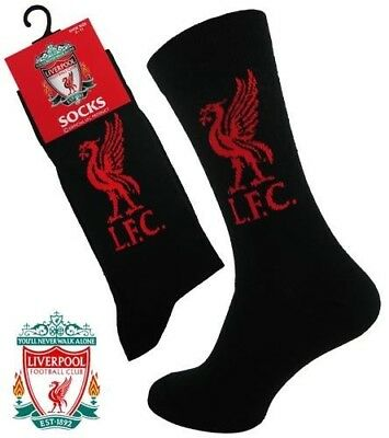 Mens Liverpool FC Official Gift Liverbird Football Club Socks Black UK 6-11