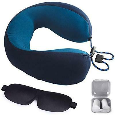 Memory Foam Travel Neck Pillow with Washable Cover, Ear Plugs and Eye Mask Blue