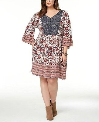 STYLE & CO. Plus Size 0X Dress Mixed-Print Flutter-Sleeve Peasant ...