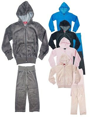 Girls Velour Set New Kids Velvet Jumper Hoodie Joggers Tracksuit Age 2-6 Years