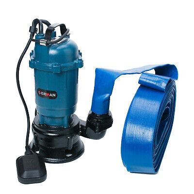 Submersible Sewage Dirty Water Drain Septic Sump Cesspool Grinding Pump 10m Hose