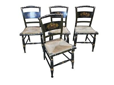Vintage Hitchcock-Style Painted Dining Chairs - Set of Four - c. 1950's - 12419a