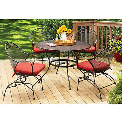 5-Piece Patio Dining Set 4 Chairs w/ Cushions 1 Table Outdoor Garden Furniture