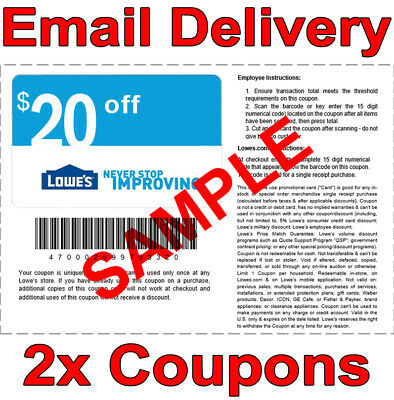 2x Lowes $20 off $100 Instant Delivery Online/In-Store 1COUPON-Good to 𝟕/𝟐𝟓