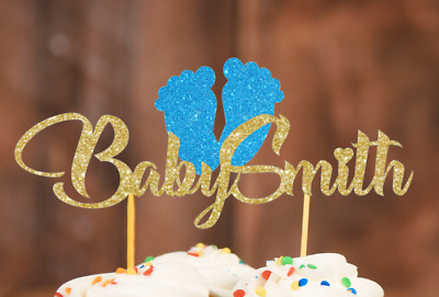Personalised Baby Shower Cake Topper Glitter Blue Pink Footprints  Glitter Gold