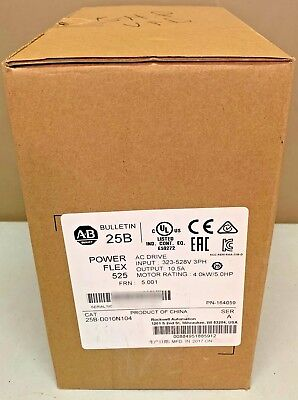 New Sealed Allen Bradley 25B-D010N104 PowerFlex 525 AC Drive 5HP 480V MFG 2017