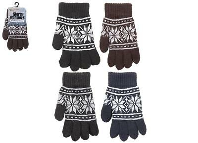 Kids Childs Heavy Knit Knitted Warm Winter Patterned Gloves