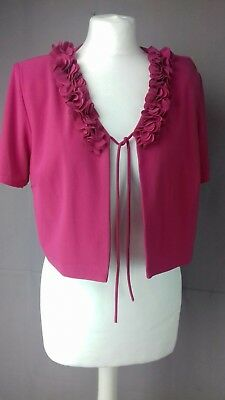 Size 16 Fushia Pink Party Bolero Shoulder Cover Stretchy US 12 JULIAN TAYLOR
