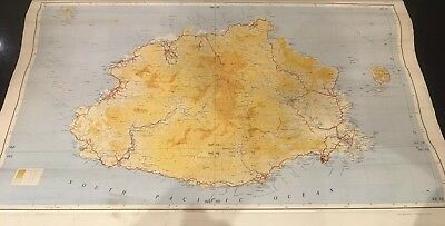 Vintage School Map Wall Hanging FIJI Excellent Condition Old Retro Cute