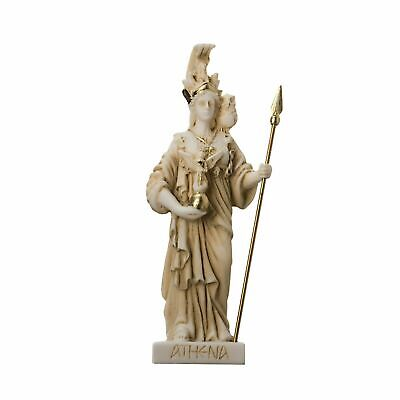 Athena with Owl Goddess of wisdom and war Alabaster Gold tone Statue 6.29""